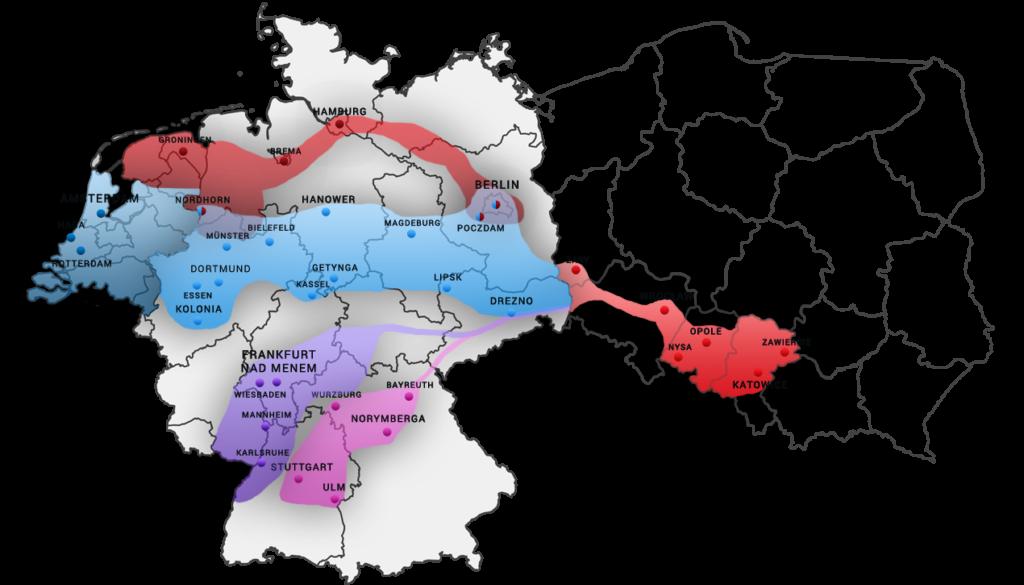 Map przejazdów busów do Holandii i Niemiec